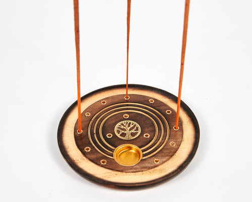 Tree Of Life Round Mango Wood Disc Incense Holder / Incense Burner Ash Catcher With 20 Free Vegan Friendly Incense Sticks