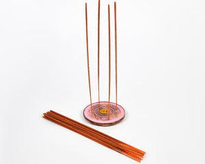 Pink Flower Mango Wood Disc Incense Holder / Incense Burner Ash Catcher 20 Free Vegan Friendly Incense Sticks