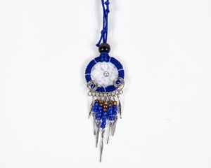 Blue Beaded Dreamcatcher Necklace