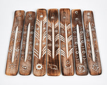 Load image into Gallery viewer, Moon & Stars Symbol Mango Wood Incense Holder image 3