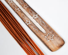 Load image into Gallery viewer, Star Symbol Mango Wood Incense Holder image 2