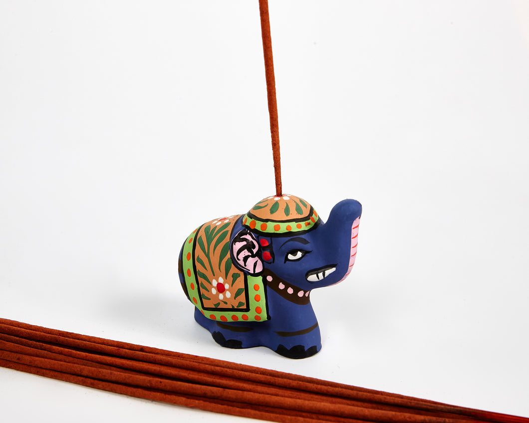 Blue Mini Elephant Incense Holder / Incense Burner Ash Catcher With 20 Free Vegan Friendly Incense Sticks