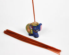 Load image into Gallery viewer, Blue Mini Elephant Incense Holder / Incense Burner Ash Catcher With 20 Free Vegan Friendly Incense Sticks