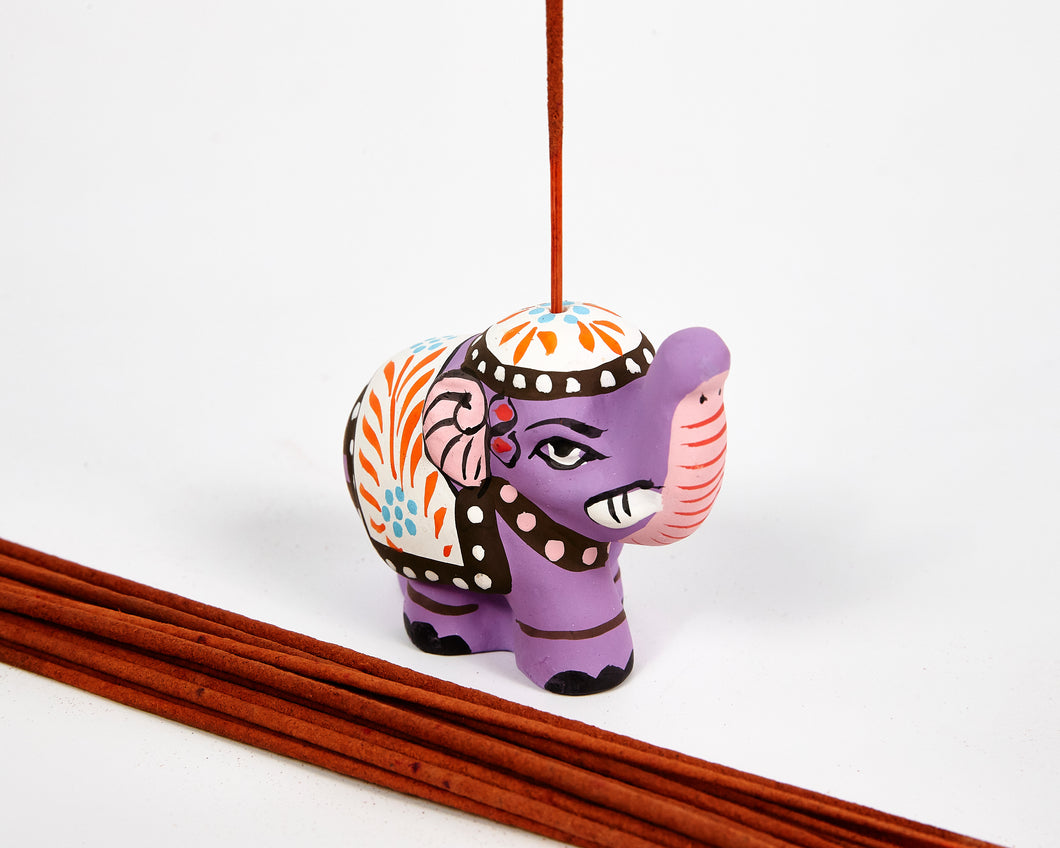 Purple Mini Elephant Incense Holder image 1