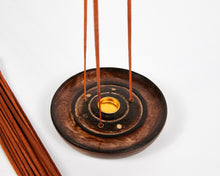 Load image into Gallery viewer, Mango Wood 3 Hole Round Incense Stick & Cone Holder image 3
