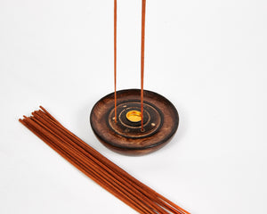 Mango Wood 3 Hole Round Incense Stick & Cone Holder image 4
