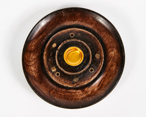 Mango Wood 3 Hole Round Incense Stick & Cone Holder image 2