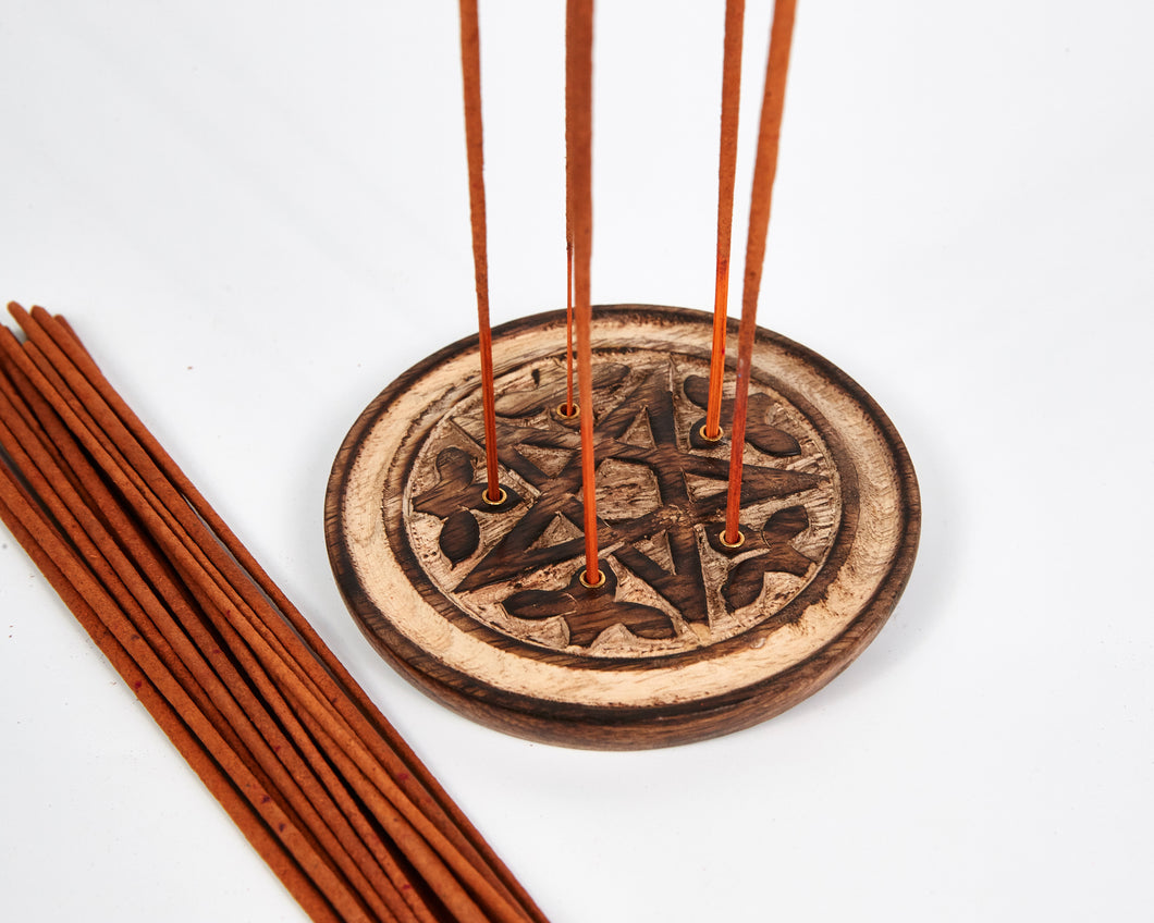 Hand Carved Pentagram 5 Hole Round Incense Stick & Cone Holder image 1