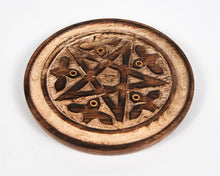 Load image into Gallery viewer, Hand Carved Pentagram 5 Hole Round Incense Stick & Cone Holder image 4