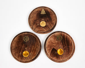 Pentagram Round Wood 4 Hole Disc Incense Holder image 4
