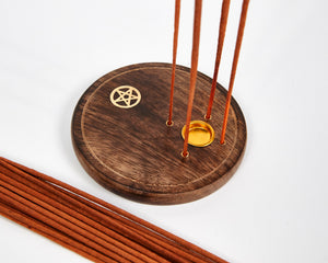 Pentagram Round Wood 4 Hole Disc Incense Holder image 2