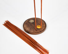 Load image into Gallery viewer, Pentagram Round Wood 4 Hole Disc Incense Holder image 3