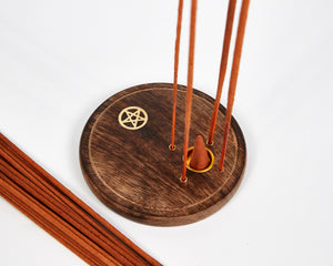 Pentagram Round Wood 4 Hole Disc Incense Holder image 5