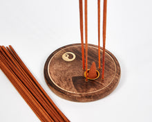 Load image into Gallery viewer, Yin & Yang Round Wood 4 Hole Disc Incense Holder image 5