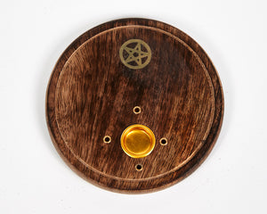 Pentagram Round Wood Incense Ash Catcher 4 Hole Disc, Eco Friendly Incense Holder, Incense Burner + 20 Free Vegan Friendly Incense Sticks