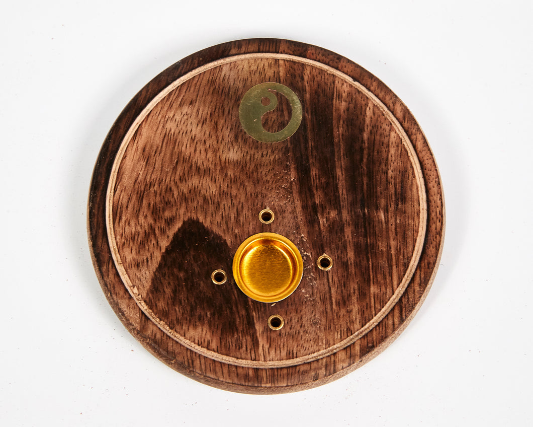 Yin & Yang Round Wood 4 Hole Disc Incense Holder image 1
