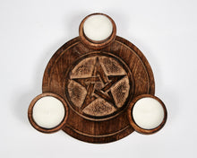 Load image into Gallery viewer, Hand Carved Pentagram Pattern Wooden Tea Light Holder, With 6 Free Scented Tea Light Candles