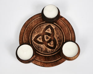 Hand Carved Celtic Triquetra Pattern Wooden Tea Light Holder, With 6 Free Scented Tea Light Candles