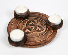 Load image into Gallery viewer, Hand Carved Celtic Triquetra Pattern Wooden Tea Light Holder, With 6 Free Scented Tea Light Candles