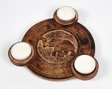 Load image into Gallery viewer, Hand Carved Elephant Pattern Wooden Tea Light Holder, With 6 Free Scented Tea Light Candles