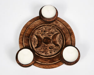 Hand Carved Moon Pattern Wooden Tea Light Holder, With 6 Free Scented Tea Light Candles