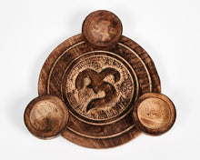 Load image into Gallery viewer, Hand Carved Ohm, Om Pattern Wooden Tea Light Holder, With 6 Free Scented Tea Light Candles