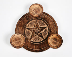 Hand Carved Pentagram Pattern Wooden Tea Light Holder, With 6 Free Scented Tea Light Candles