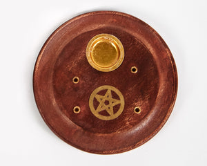 Small Pentagram Mango Wood Incense Ash Catcher, Holds 4 Sticks & 1 Cone, Comes With 20 Free Vegan Friendly Incense Sticks
