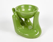 Load image into Gallery viewer, Green Hand Ceramic Oil Burner, Incense Holder, Ash Catcher