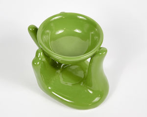 Green Hand Ceramic Oil Burner, Incense Holder, Ash Catcher