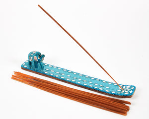 Light Blue Sparkly Baby Elephant Glitter Incense Burner image 1