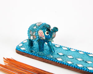 Light Blue Sparkly Baby Elephant Glitter Incense Burner image 3