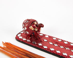 Red Sparkly Baby Elephant Glitter Incense Burner Ash Catcher With 20 Free Vegan Friendly Incense Sticks