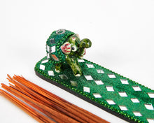 Load image into Gallery viewer, Green Sparkly Baby Elephant Glitter Incense Burner image 2