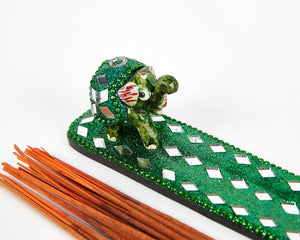 Green Sparkly Baby Elephant Glitter Incense Burner image 2