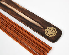 Load image into Gallery viewer, Blue Incense Holder Esscents Flower, Natural Eco Friendly Mango / Incense Burner Ash Catcher With 20 Free Vegan Friendly Incense Sticks