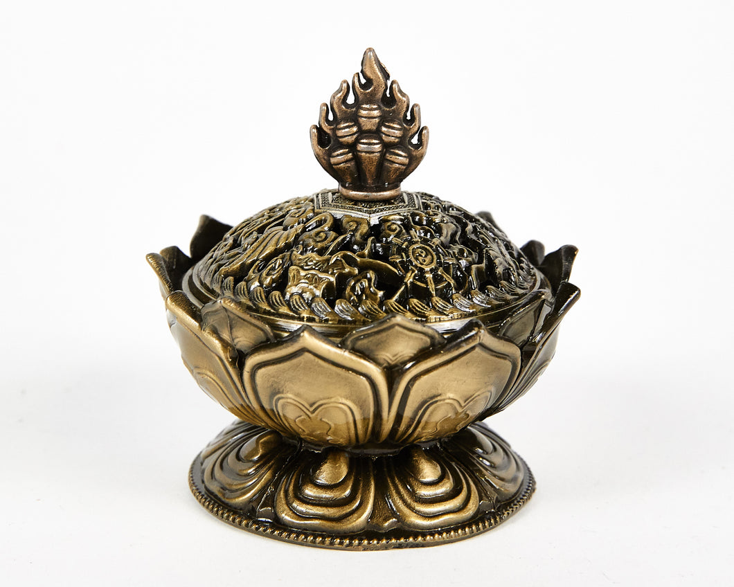 Brass Lotus Incense Burner, with 12 Free Incense Cones, Incense Cone Burner, Incense Holder