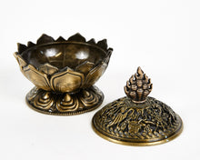 Load image into Gallery viewer, Brass Lotus Incense Burner, with 12 Free Incense Cones, Incense Cone Burner, Incense Holder