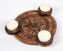 Load image into Gallery viewer, Hand Carved Moon Pattern Wooden Tea Light Holder, With 6 Free Scented Tea Light Candles