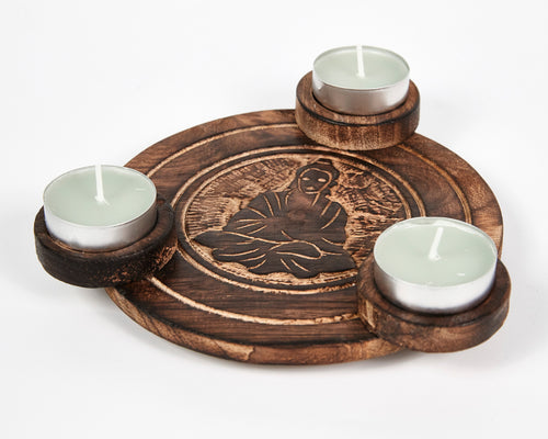 Hand Carved Sitting Buddha Pattern Wooden Tea Light Holder, With 6 Free Scented Tea Light Candles