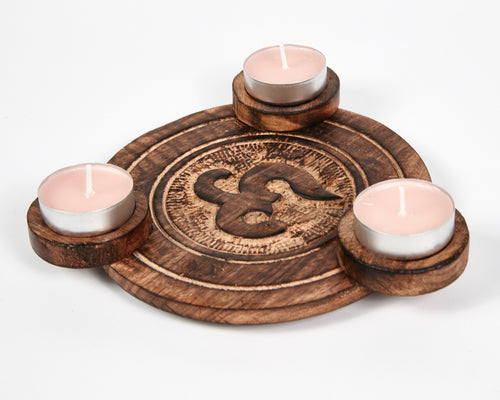 Hand Carved Ohm, Om Pattern Wooden Tea Light Holder, With 6 Free Scented Tea Light Candles