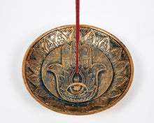 Load image into Gallery viewer, Hand Of Hamsa Copper Incense Holder Plate image 2
