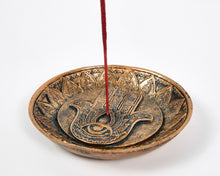 Load image into Gallery viewer, Hand Of Hamsa Copper Incense Holder Plate image 4