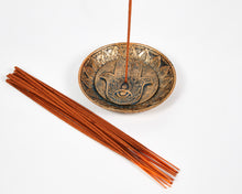 Load image into Gallery viewer, Hand Of Hamsa Copper Incense Holder Plate image 6