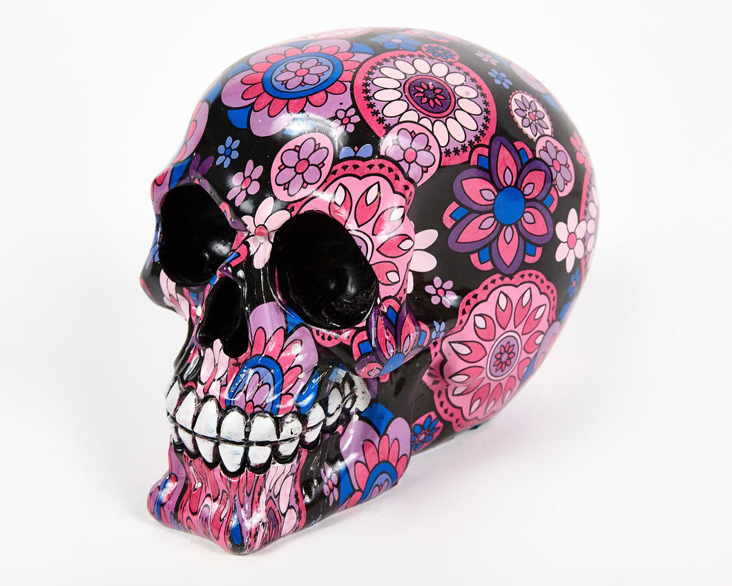 Pink and Purple Flowers Decorative Skull, Decor Ornament, Gothic, Biker, Halloween, Day of the Dead, Sculpture