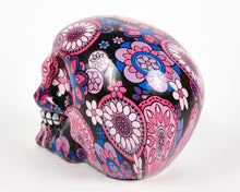 Load image into Gallery viewer, Pink and Purple Flowers Decorative Skull, Decor Ornament, Gothic, Biker, Halloween, Day of the Dead, Sculpture