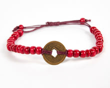 Load image into Gallery viewer, Red Good Luck Feng Shui Coin Bracelet