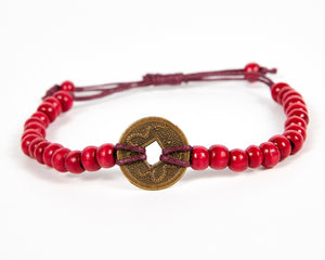 Red Good Luck Feng Shui Coin Bracelet