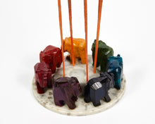 Load image into Gallery viewer, Elephants Seven Chakra Colour Soapstone Incense Holder image 2