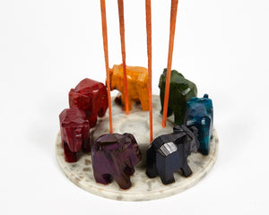 Elephants Seven Chakra Colour Soapstone Incense Holder image 2